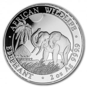 2 oz Silber Somalia Elefant 2017 in Kapsel  ( diff.besteuert nach §25a UStG )