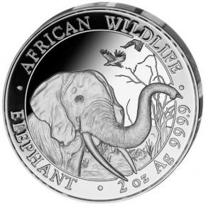 2 oz Silber Somalia Elefant 2018 in Kapsel ( diff.besteuert nach §25a UStG )