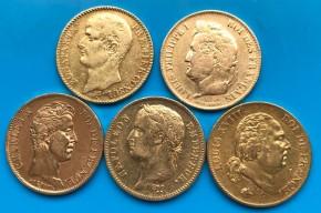 40 Francs Frankreich Louis XVIII / stärker im Umlauf etc. ( 11,62 Gramm Gold fein )