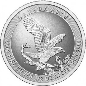 1/2 oz Silber Canada Royal Canadian Bald Eagle 2015  ( diff.besteuert nach §25a UStG )