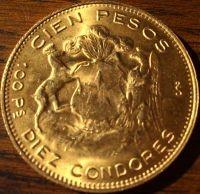 100 Chile Pesos 1926 ( 18,3 Gramm Gold fein )