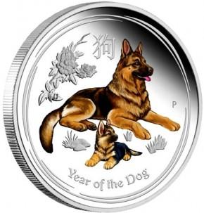 1/2 oz Silber Lunar Dog / Hund colored / farbig  in Kapsel ( diff.besteuert nach §25a UStG ) - VVK