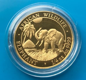 1/4 oz Gold Elefant Somalia 2017 in Kapsel