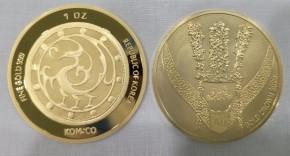 """1 oz Gold Korea  """" Crown 2020 """" - Komsco"""