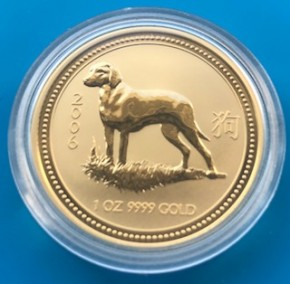 1 oz Gold Lunar I Hund 2006 in Kapsel