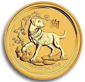 1/10 oz Gold Lunar II Hund 2018 in Kapsel