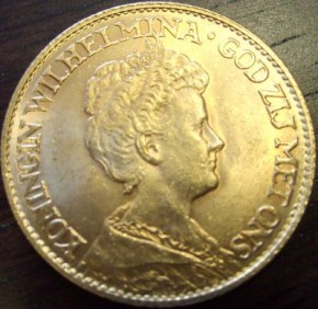 10 Gulden Wilhelmina ( 6,06 Gramm Gold fein )