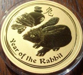 1/10 oz Gold Lunar II Hase 2011 in Kapsel