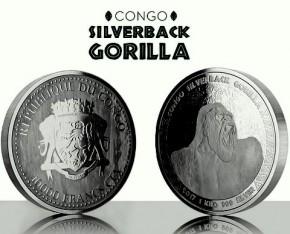1 Kilogramm / 1000 Gramm Silber Congo Gorilla 2017