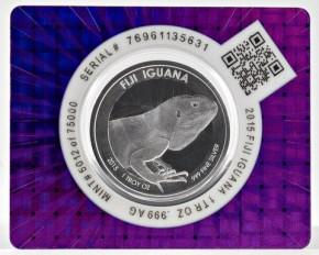 1 oz Silber Iguana / Leguan in Cert-Lock  ( diff.besteuert nach §25a UStG )