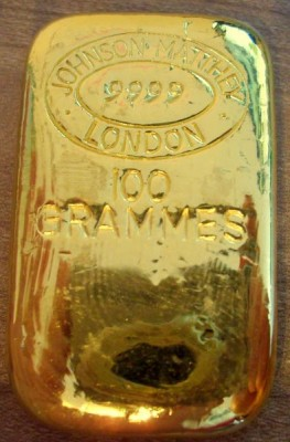 100 Gramm Gold Barren Johnson Matthey