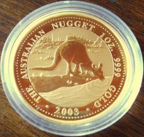 1/4 oz Gold Känguru 2003 in Kapsel