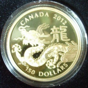150 Can Dollar Gold PP Drache inkl. Box + COA ( Royal Canadian Mint )