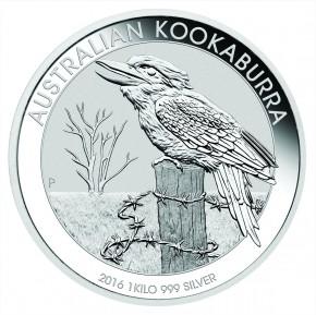 1 Kilogramm / 1000 Gramm Silber Kookaburra 2016  ( diff.besteuert nach §25a UStG )