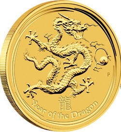 2 oz Gold Lunar II Drache 2012 in Kapsel ( Perth Mint )