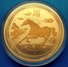 1/4 oz Gold Lunar II Pferd 2014 in Kapsel