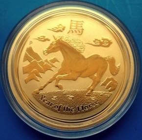 1/2 oz Gold Lunar II Pferd 2014 in Kapsel
