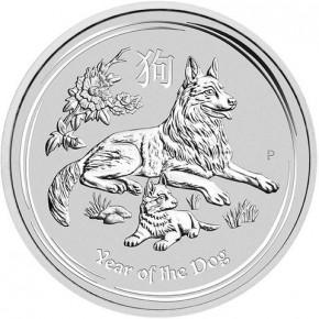 2 oz Silber Lunar II Silber Hund 2018  ( diff.besteuert nach §25a UStG )