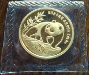 1/10 oz Gold Panda 1990 in Folie