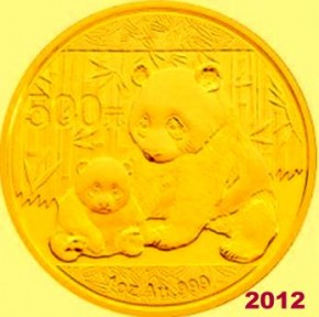 1 oz Gold Panda 2012 in Folie