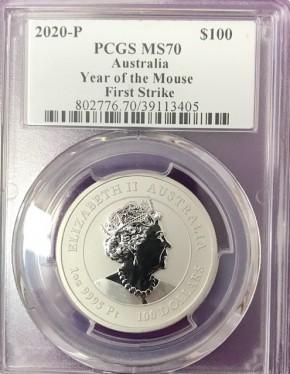 "1 oz Platin Perth Mint MS70 First Strike "" Lunar Maus III 2020 "" - max 5.000 ( diff.besteuert nach §25a UStG )"