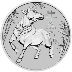 MS70 First Strike im Slab 1 oz Platin Perth Mint Lunar Ochse 2021 ( diff.besteuert nach §25a UStG )
