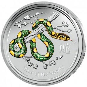 1 oz Silber 2013 Lunar Schlange farbig ( diff.besteuert nach §25a UStG )
