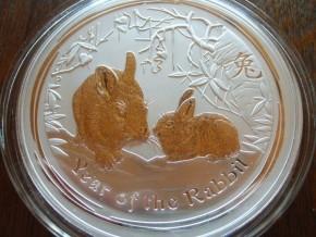 1/2 oz Silber Lunar II Hase 2011 ( diff.besteuert nach §25a UStG )