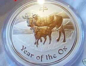 1 oz Silber Lunar II Ochse 2009 ( diff.besteuert nach §25a UStG )