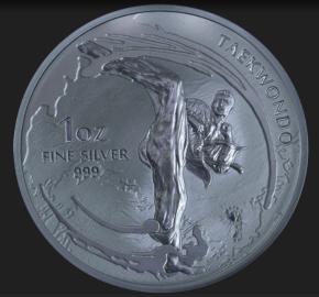 "1 oz Silber Südkorea 2019 "" Taekwondo "" - max 25.000"