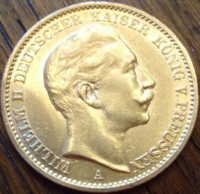 20 Mark Wilhelm II - 7,16 Gramm Gold fein