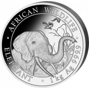 1 Kilogramm Silber Somalia Elefant 2018 in Kapsel ( diff.besteuert nach §25a UStG )
