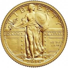 1/4 oz Gold USA Standing Liberty 2016 inkl. Box / COA